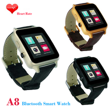 2016 New Bluetooth Smart watch A8 With Heart Rates Monitor Camera GPRS Pedometer Genuine leather band Smartwatch for Android IOS