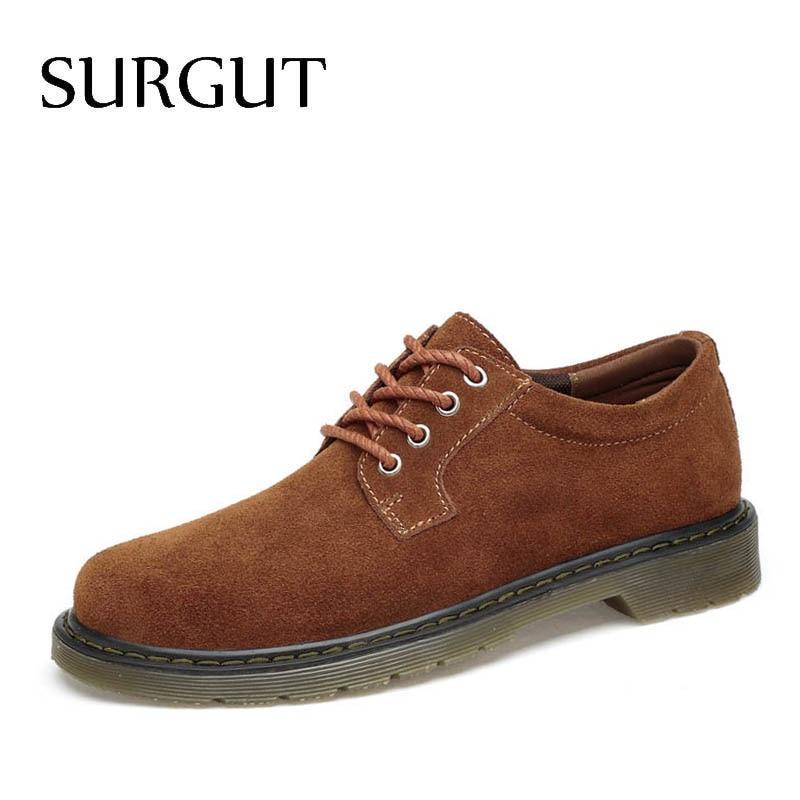 SURGUT 2019 Hot Fashion Men Casual Shoes New Breathable Men Flats Lace Up Male Suede Oxfords Men Leather Shoes Plus Size 38~47