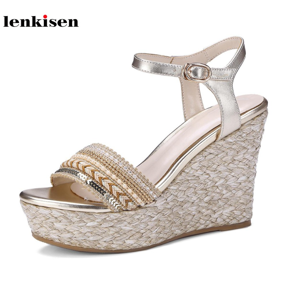 Lenkisen cow leather buckle straps wedges women sandals platform straw pearl decoration new fashion gladiator summer shoes L38 lenkisen genuine leather big size wedges summer shoes gladiator super high heels straw platform sweet style women sandals l45