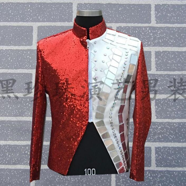 Robe Hommes Gris Conceptions Sequin Pour Masculino Les rouge Terno De Veste Vêtements Style Chanteurs Rouge Scène Gris Danse Homme Costumes Blazer 5ffUx