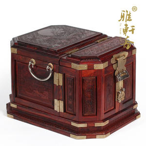 Jewelry-Box Wooden Treasure Home-Decor with Copper-Lock Red Phoenix in Morning Sun