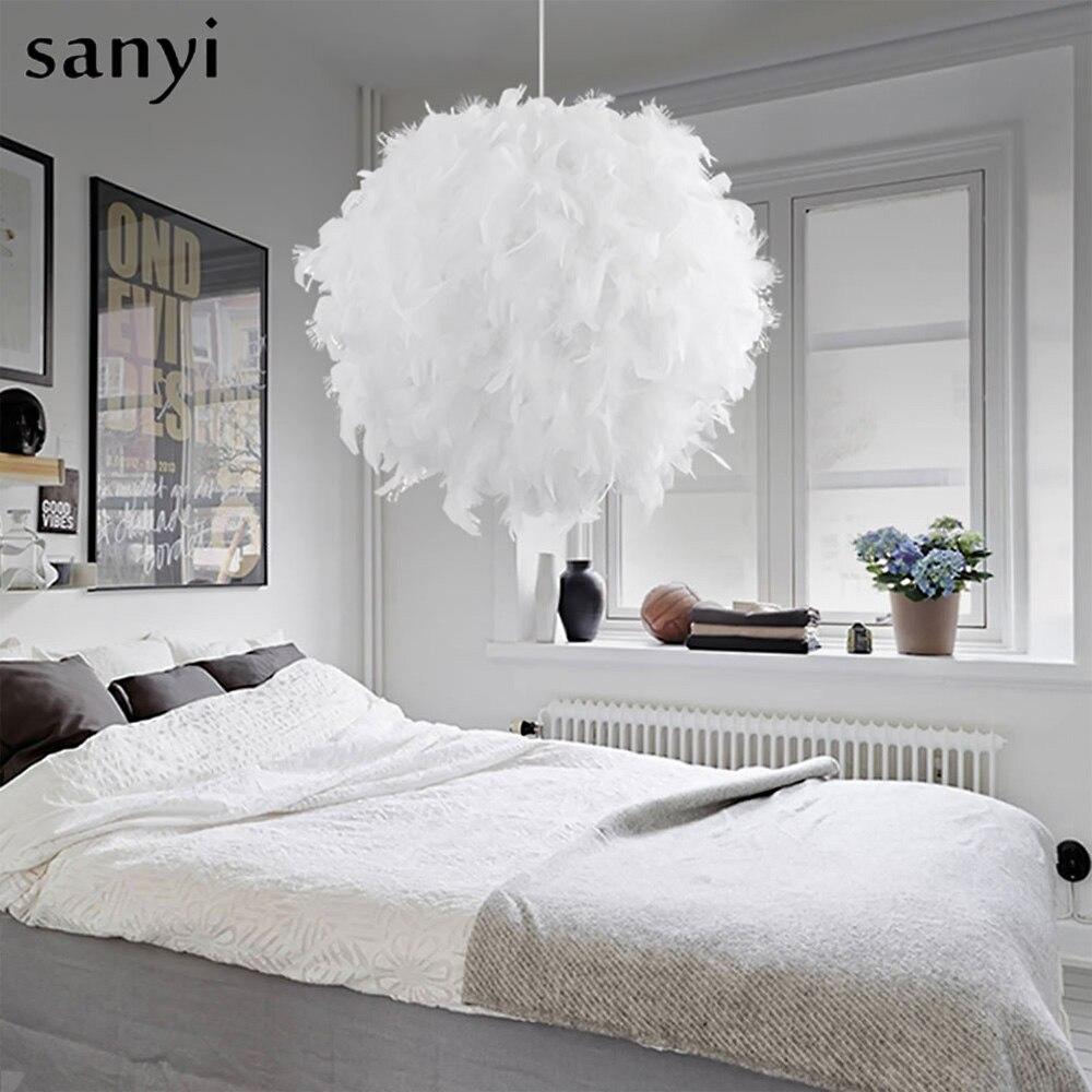 Moderne Anhänger Licht Romantische Traumhafte Feder Drop Schlafzimmer Hängen Lampe Lamparas E27 110-240 V