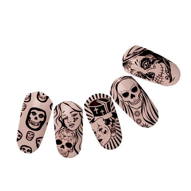 Duivel met Angel Meisje Verhaal Nail Art Image Plate + Roze Stamper Schraper Set Schedel Patronen Template DIY Nail Schoonheid print Stencil