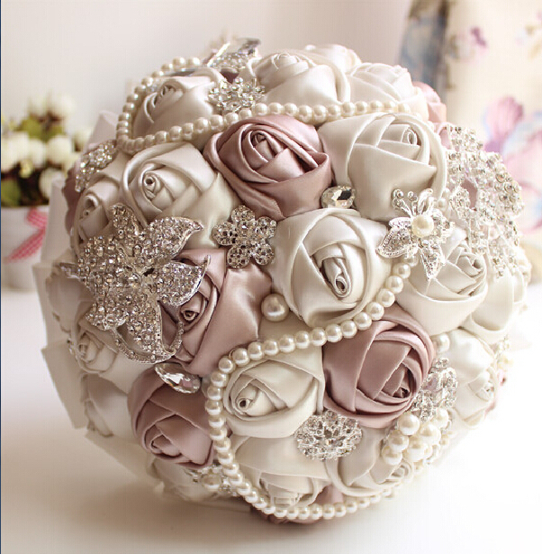 2016 new In Stock crystal beaded Gorgeous Wedding Bouquet Rose Bridesmaid Artificial Flowers pearl Sapphire Ivory Bridal bouquet