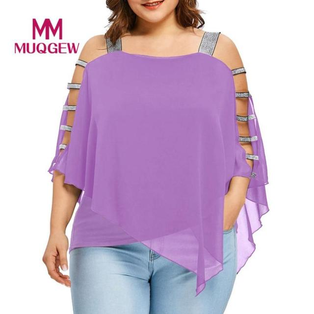 Plus Size Summer Women Off-the-shoulder irregular Tee top T-Shirt Sexy For Women Chiffon Fashion Hollow Out Cut Out Tops Blusas 1