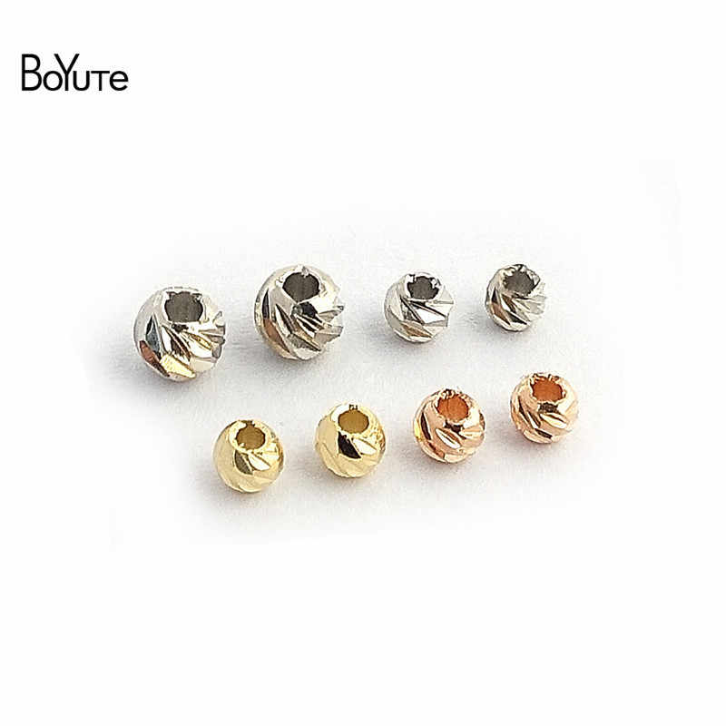 BoYuTe 100Pcs 3MM 4MM Metal Brass Bodhi Beads for Jewelry Making Diy Accessories