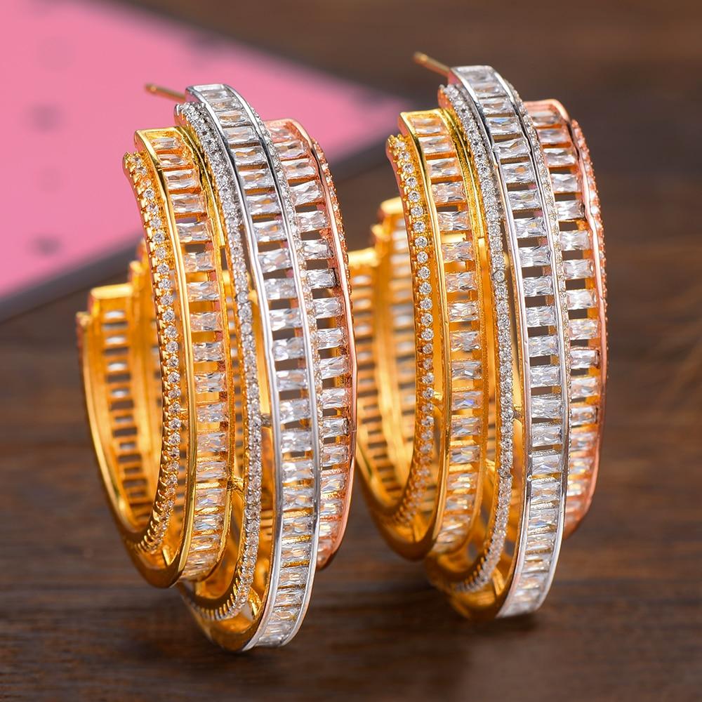 SISCATHY Brand Big Hoop Women Earrings Fashion Jewelry Luxury Silver Rosegold Gold Color Cubic Zirconia Statement Earrings in Hoop Earrings from Jewelry Accessories