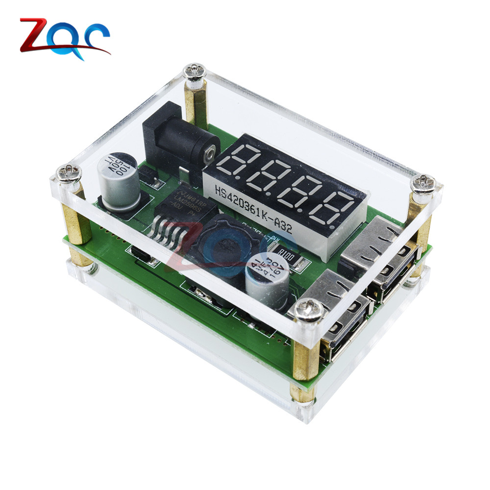 цена на DC-DC 9V 12V 24V 36V to 5V 3A LED Digital Display Step Down Buck Module Voltage Voltmeter Dual USB Converter With Case for Car