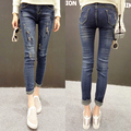6753 pencil pants skinny pants embroidered jeans female trousers mid waist trousers female