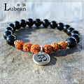 Lubean 2017 New Design Grade Black Agate Rudraksha Bracelet High Quality Onyx Bracelet Rustic Yogi Mala Beads  Free Shipp