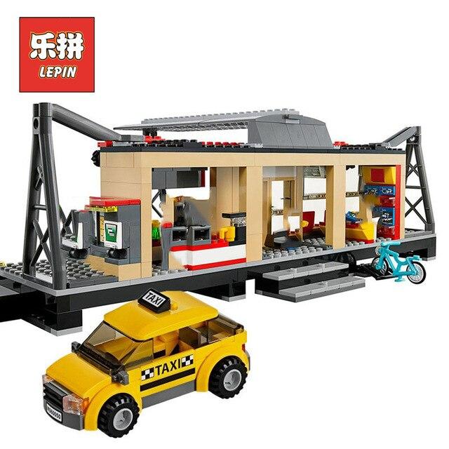 Lepin 02015 City Rail Train Station track Taxi 60050 Model Building Blocks Bricks Set DIY Educational classic Toys For Children