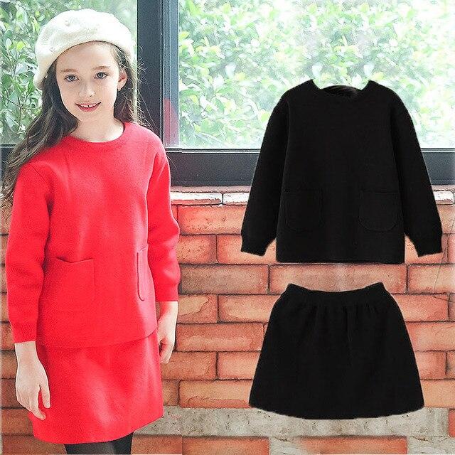 3cc9c558203b Maglia boutique capretti che coprono gli insiemi autunno bambina maglione e  gonna maglia set vestiti della
