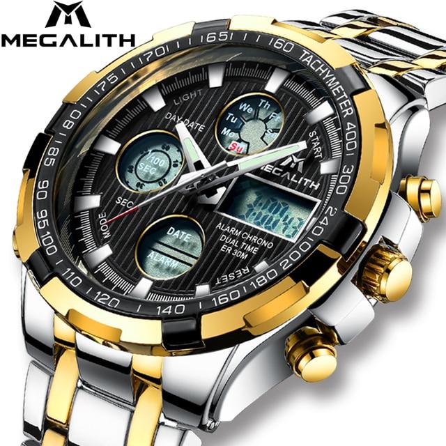 0a5def4f858 Relogio masculino 2018 MEGALITH Relógio de Luxo Homens de Ouro Relógios de Quartzo  Esportes Digitais À