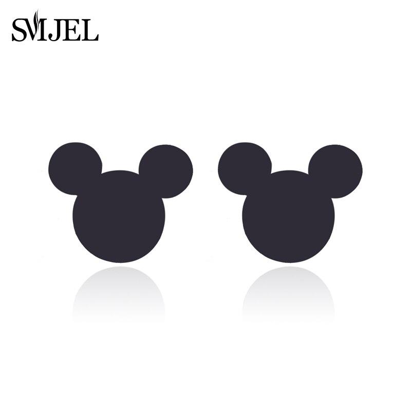 SMJEL New Fashion Cute Mickey Earrings Black Childrs