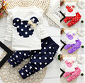 Girls Set 2016 Spring and Autumn New Korean Children Mickey T-shirt + Pants Two-piece Baby Casual Wear