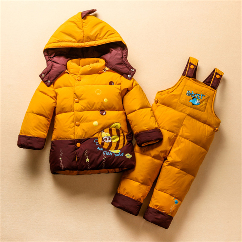 2T-4T Kid's Winter Warm Coat+Pant Clothing Set  Animal Little Fish Baby Boys Girls Snowsuit Children Duck Down Outerwear dunlop winter maxx wm01 205 65 r15 t