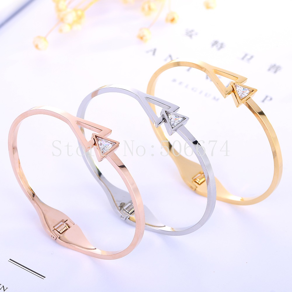 Top Quality Triangle Couple CZ brand Fashion Jewelry Cuff Carter Bracelets Bangles 316L Stainless Steel Bracelets For Women