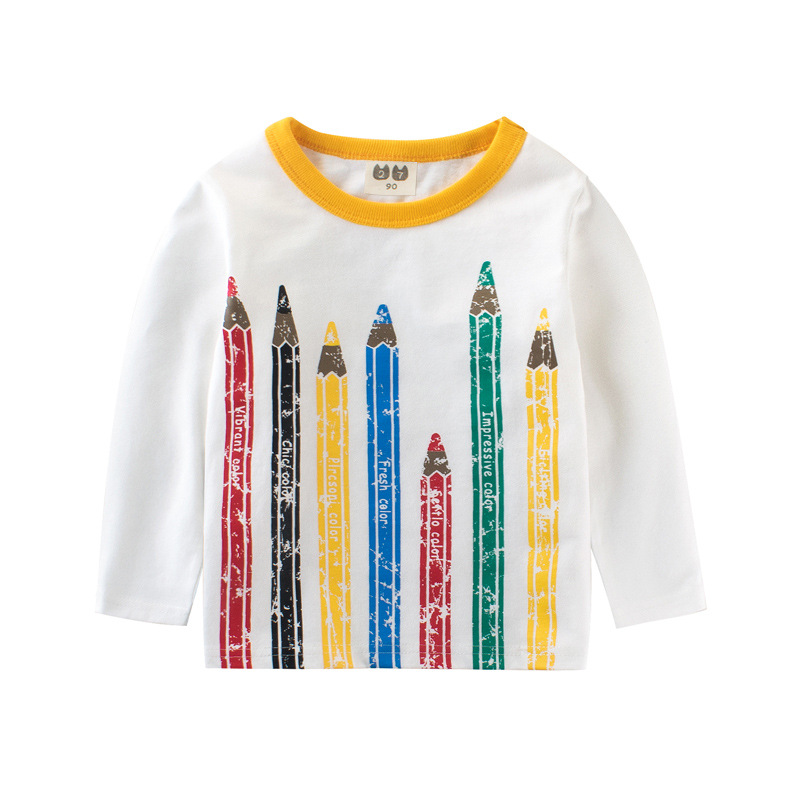 a7b96831390 2018 New T Shirts Boys Girls Long Sleeve Cotton Funny Colorful Pencil Print  Children s Tops Baby Tees 2-8 Years Kids Clothing