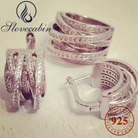 Slovecabin 2017 Top Brand Silver Jewelry Set Europe Popular 100% 925 Sterling Silver Ring And Earring Jewelry Set For Women