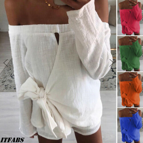 US Women Off Shoulder Holiday Mini Playsuit Jumpsuit Rompers Summer Beach Shorts