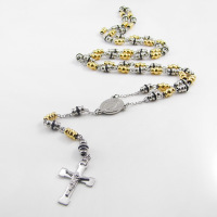 6mm Gold Black SilverTone Stainless Steel Bead Chain Jesus Christ Cross Pendant Rosary Necklace Unisex Mens