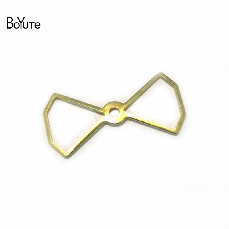 BoYuTe 100Pcs Filigree Copper Metal Stamping Plate Bowknot Diy Hand Made Jewelry Findings Components