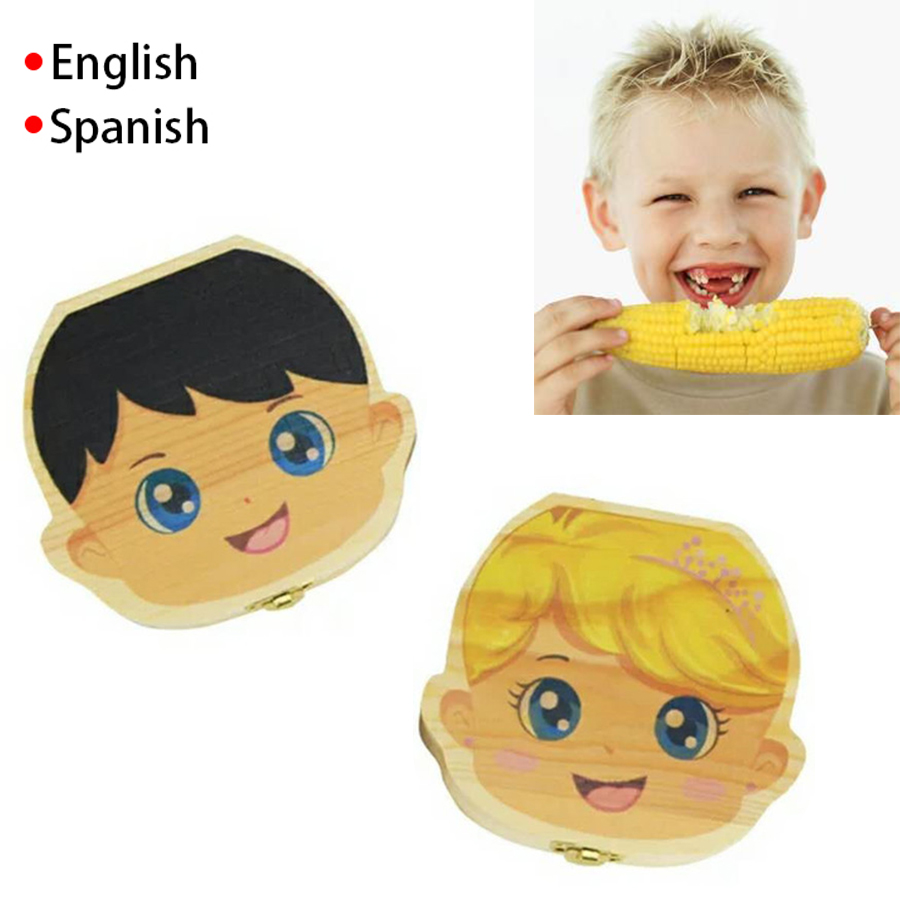 HOT Wooden English Spanish Baby Tooth Box Kids Milk Teeth Collect Caja De Dientes Baby Tooth Organizer Baby Gift Boys Girls New