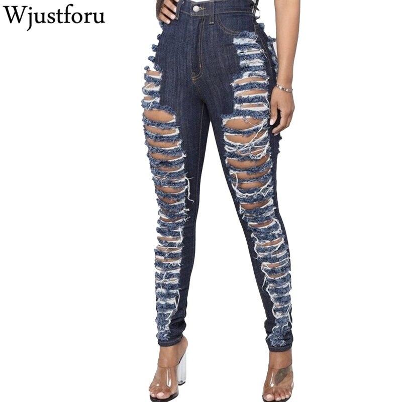 Wjustforu Sexy Hole Jeans Pants Women Bodycon Fashion Club Pencil Denim Trousers Female Hollow Out Blue Casual Jeans Pants