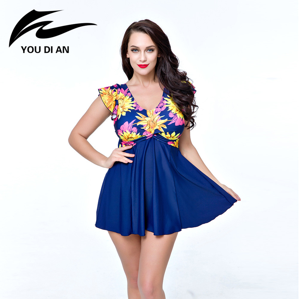 YOUDIAN 2017 Sexy Plus Size Swimwear Floral Print One Piece Suits Swimsuit Beachwear Bathing Suit Swimwear Dress 4XL To 8XL sexy plus size skirt swimwear women one piece suits swimsuit beachwear bathing suit swimwear dress 4xl to 8xl