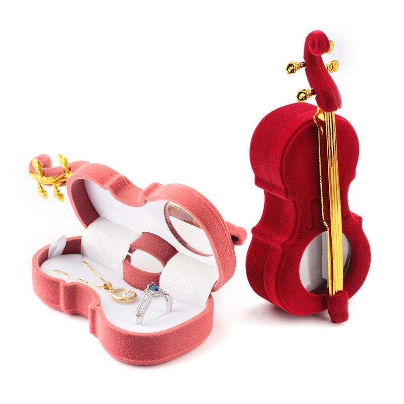 1 Piece Unique Cello Gift Box Holder Jewelry Box Case Velvet Wedding Ring Box For Earrings Necklace Display & Packaging 2 Colors(China)