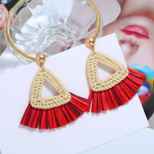 Bohopan Fashion Elegant Female Short Tassels Dangle Earrings Creative Triangle Drop Vintage Bohemia For Women