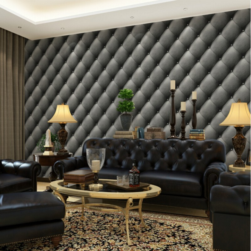 Beibehang European luxury 3D living room imitation leather soft package background wallpaper bedroom wall paper home decor replacement projector lamp module ec j5400 001 for acer p5260 p5260i