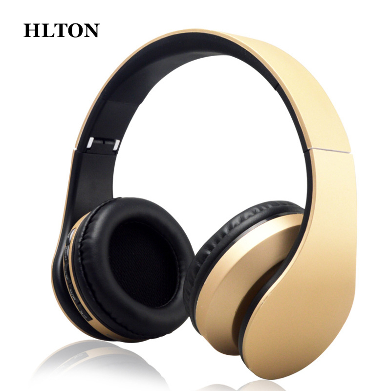 HLTON Foldable Bluetooth Wireless Headset Stereo Earphone Earbuds Microphone Casque Audio FM Radio Headphone For iphone Android new guitar shape r9030 bluetooth stereo earphone in ear long standby headset headphone with microphone earbuds for smartphones