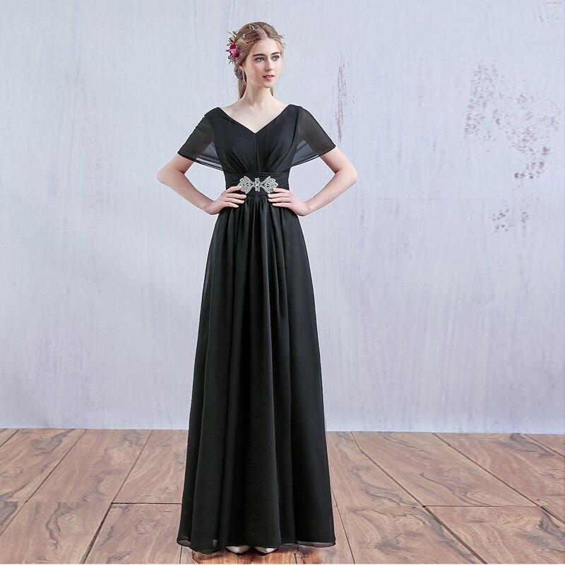 Long Evening Dress 2019 Black Red Champagne Chiffon Elegent A Line Vestido De Festa Formal Dress