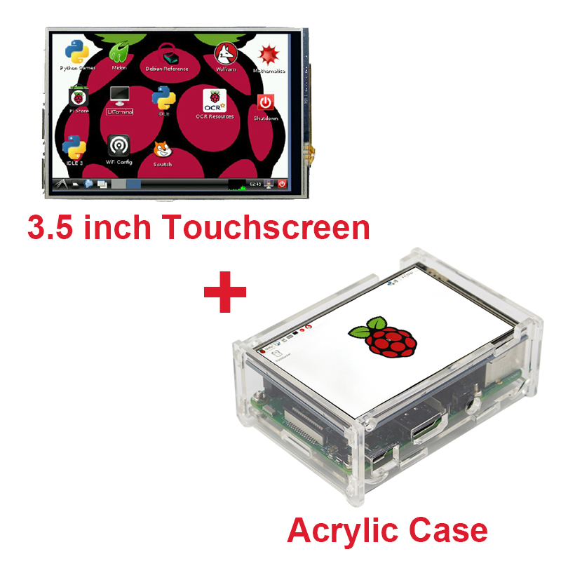 2017 Raspberry Pi 3 Model B 3.5 inch LCD TFT Touch Screen Display +Stylus+ Acrylic Case Compatible Raspberry Pi 2  Free Shipping raspberry pi 3 model b 7 inch lcd touch