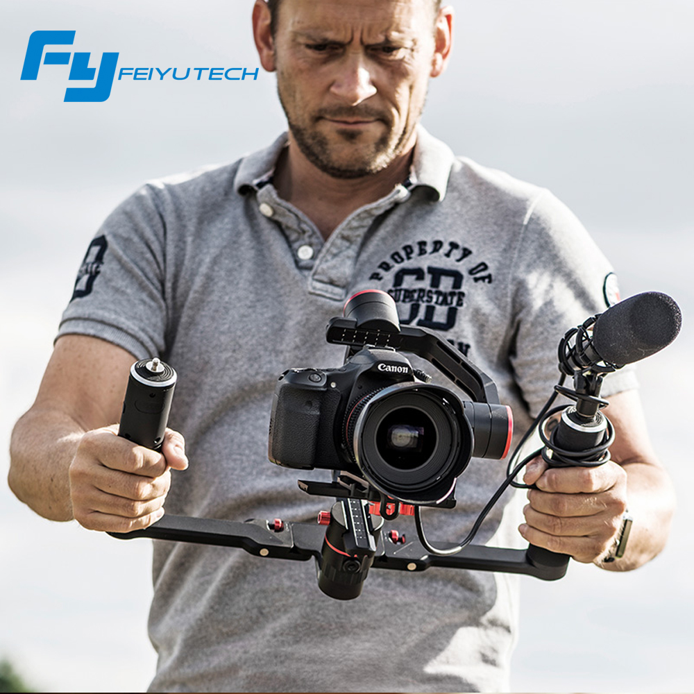 FeiyuTech feiyu FY a2000 3 Assi Gimbal Dslr Stabilizzatore Dual handheld grip per Canon 5D SONY Panasonic 2000g vs gru 2