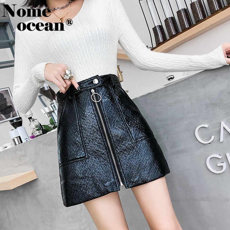 91afcbd9fa Vertical Zipper PU Skirt of Girls 2018 Autumn Double Pockets A-line Skirt  Black Hot