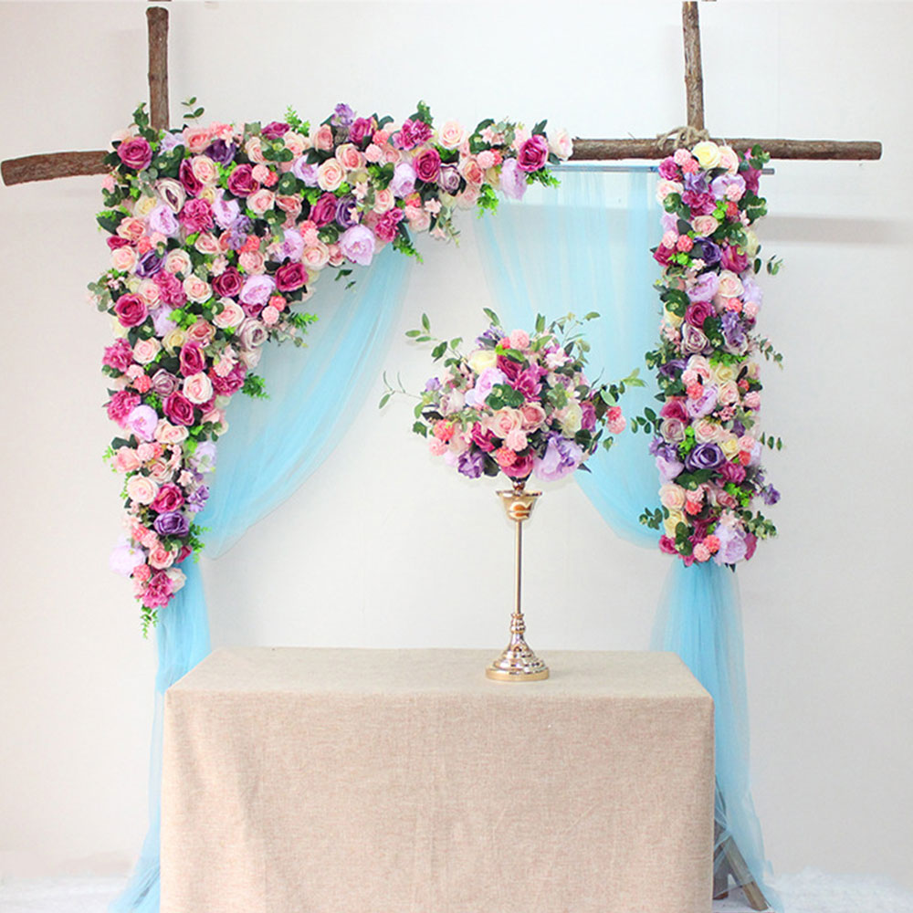 Flor pared 120cm estilo europeo DIY boda escenario decoración flor artificial pared Arco seda Rosa planta mezcla diseño decoración - 3