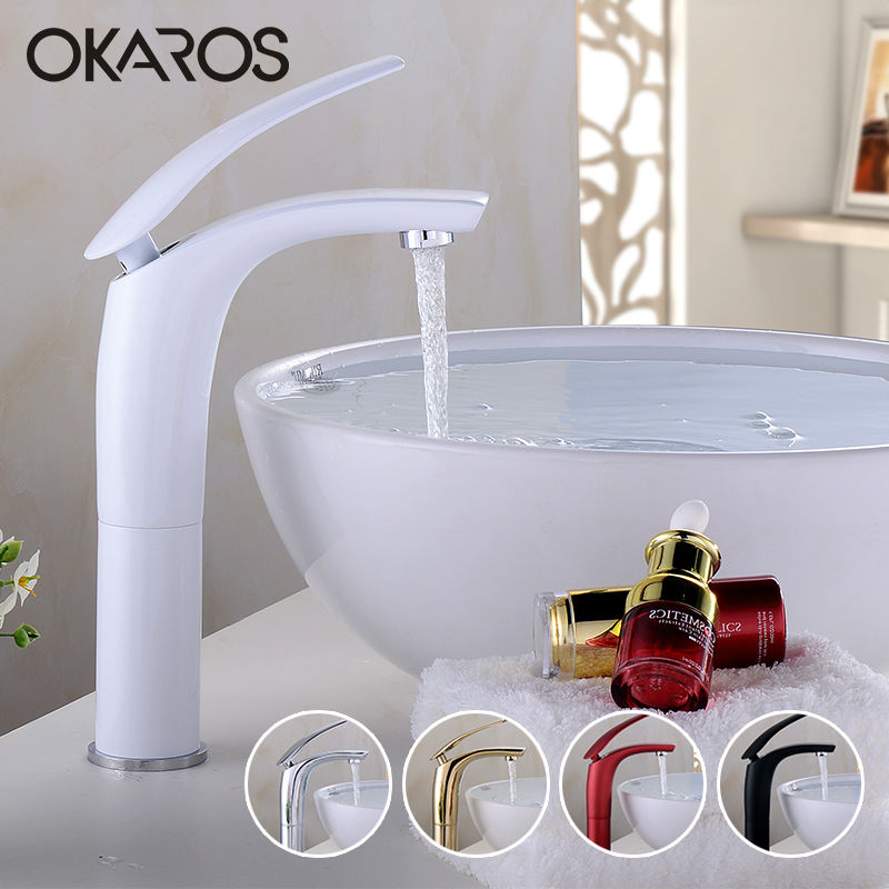 OKAROS Elegant Colorful Bathroom Basin Faucet Solid Brass Chrome Gold Finish Hot Cold Water Vessel Sink Tap Mixer Torneira basin faucet water tap bathroom faucet solid black red brass chrome gold finish single handle sink cold and hot water mixer tap