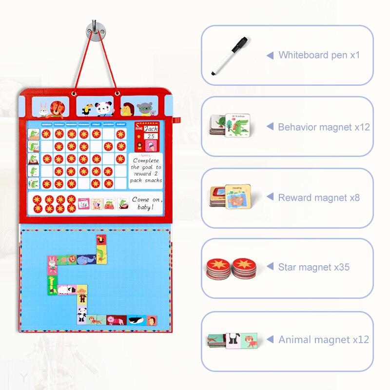 Kids Reward Chart Magnetic Daily Calendar Hanging Wooden Good Behavior Calendars