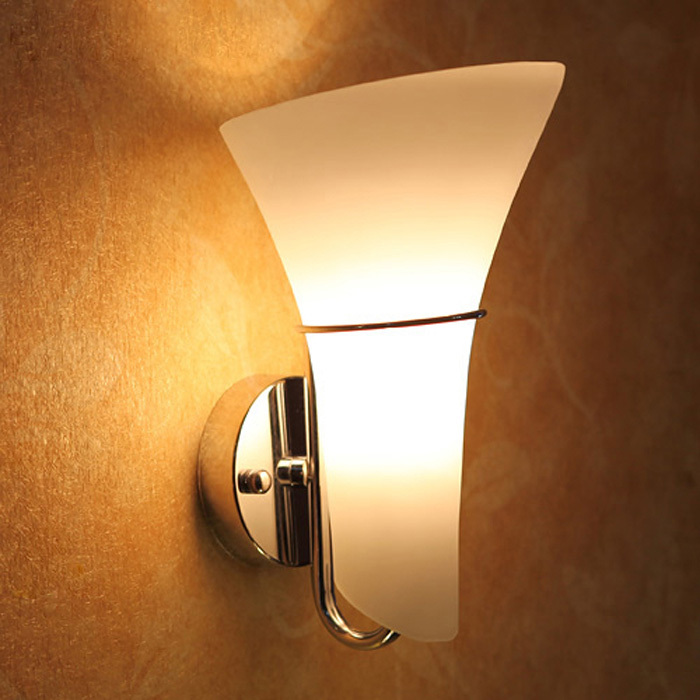 modern glass calla lily bedroom stair case wall lights frosted white glass heads corridor bedsides contracted bedroom wall lighting fixtures
