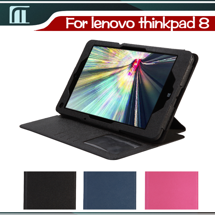 1 PCS Free Shipping.Lenovo ThinkPad 8 Stand PU Leather Cover Case Pouch For ThinkPad8 8.3 inch Tablet with Auto Wake Up Sleep