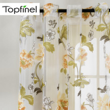 Top Finel Floral Sheer Window Curtains for Kitchen Living Room Bedroom Tulle Curtains Drapery Home Decor Room Divider 1 Panel