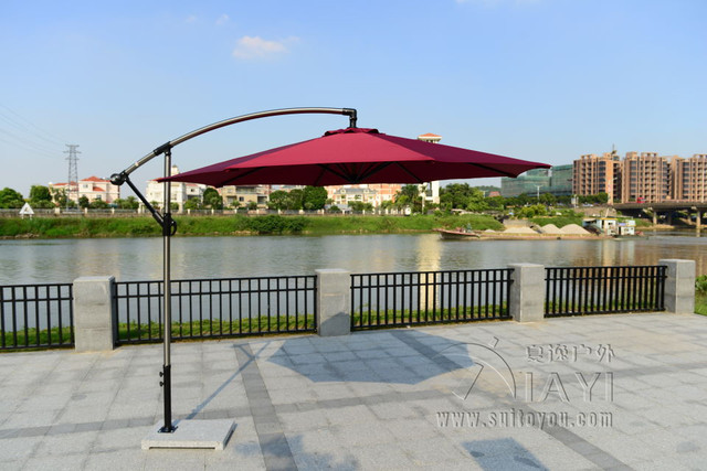 2.7 meter aluminum hanging patio garden sun umbrella parasol sunshade outdoor furniture covers ( no stone)