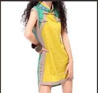 Vintage Cheongsam For Women Bohemian Design Yellow Green Patchwork Cheong Sam Chirpaur Stand Collar Frogs Dress