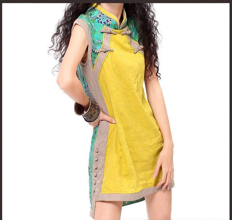 Vintage cheongsam for women bohemian design yellow green patchwork cheong-sam chirpaur stand collar frogs dress vestidos gown