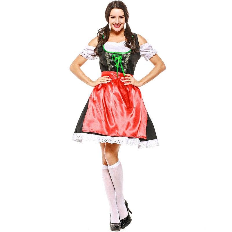 Adulte Noir et Rouge Bière Oktoberfest Femmes Costume