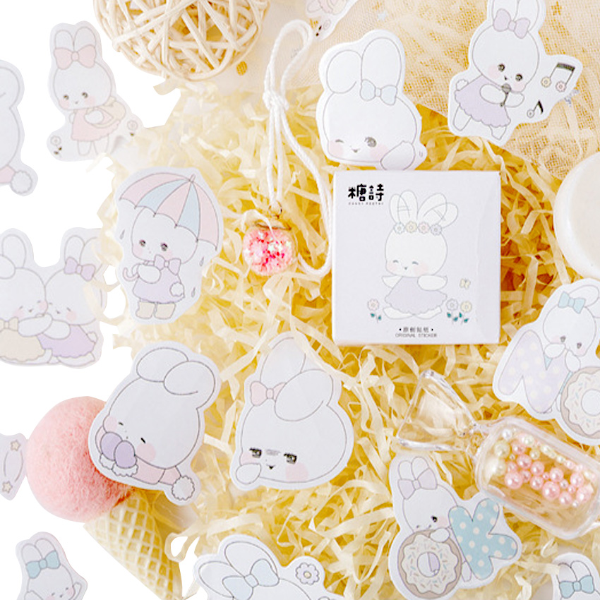 45pcs/pack Poem Soft Sister Rabbit Kawaii Stationery Gift Label Paper Stickers For Decorative