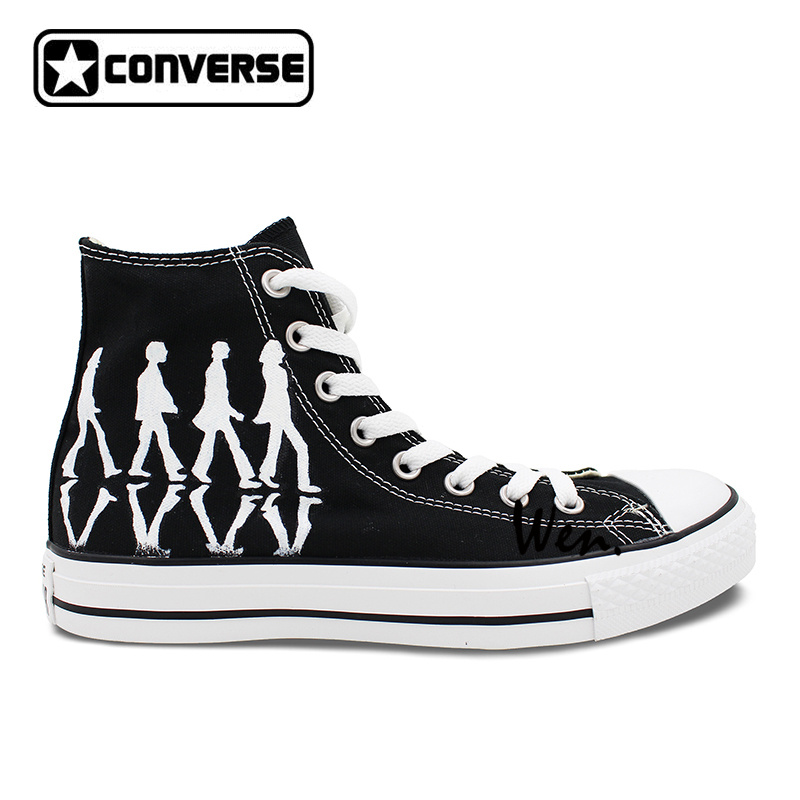 Black Converse All-Star Women Men Sneakers Boys Girls Hand Painted Shoes Custom Design Skateboarding Shoes Valentines Day