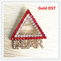 Fashion 45*45mm triangle delta sigma theta gold pin DST dear rhinestone brooch fraternity sorority alloy jewelry,1pcs,OGB006-2
